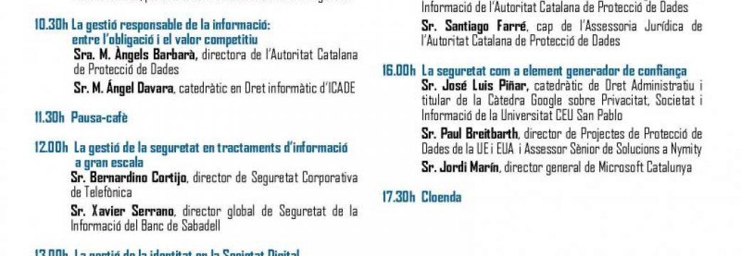 FÒRUM DE LA SEGURETAT. La seguretat de la informació en el Reglament Europeu de Protecció de Dades (Barcelona, 22 novembre 2016)