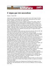 Article del company Francesc Camino, a la premsa. L'AIGUA QUE TOTS NECESSITEM