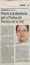 Premi a la docència per a la Producció Porcina de la UdL, entre altres  al company Daniel Babot com a responsable del departament premiat.