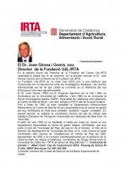 El company Joan Girona i Gomis, nou Director de la Fundació UdL-IRTA.