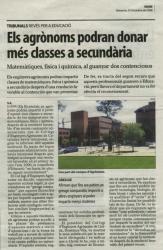 Publicacions premsa: Els Agrònoms també podem ser professors de secundària en matemàtiques, física i química.