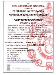"1a. Convocatòria Premis Investigació ""AGUSTÍN DE BETANCOURT Y MOLINA"" i  ""JUAN LÓPEZ DE PEÑALVER"" de la Real Academia de Ingeniería destinats a Investigadors Joves"