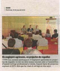 El Col·legi Oficial d'Enginyers Agrònoms surt a la premsa lleidatana