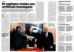 """Article publicat a La Vanguardia: """"Els enginyers emeten una certificació homologada"""""""