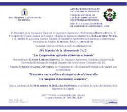 """Acto de celebración del Día Mundial de la Alimentación 2012.""""Las Cooperativas agrícolas alimentan al mundo""""  (Madrid, 18 octubre 2012)"""