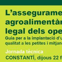 Jornada PATT de presentació de la Guia d'implantació d'un sistema d'autocontrol de la Qualitat per a les PIME's agroalimentàries