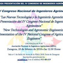 Jornada Presentació del IV Congrés Nacional d'Enginyers Agrònoms d' ANIA. Saragossa 20 de febrer de 2018