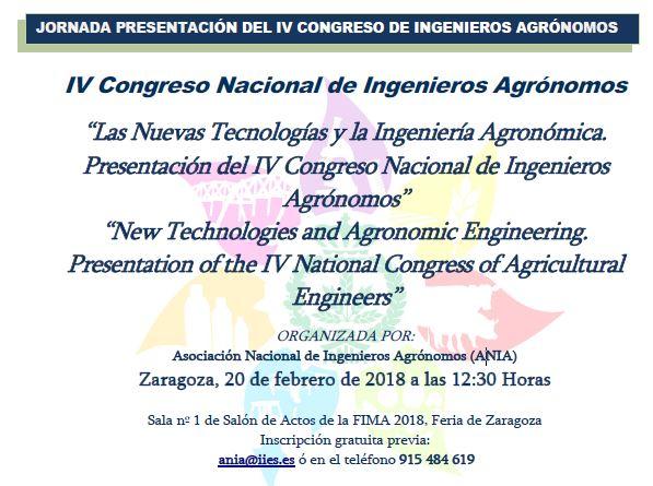Jornada Presentació del IV Congrés Nacional d'Enginyers Agrònoms de ANIA. Saragossa 20 de febrer de 2018