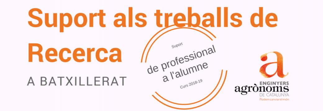 Participa al Catàleg d'Enginyers Agrònoms voluntaris per donar Suport als Treballs de Recerca de Batxillerat curs 2018-19 promogut pel COEAC