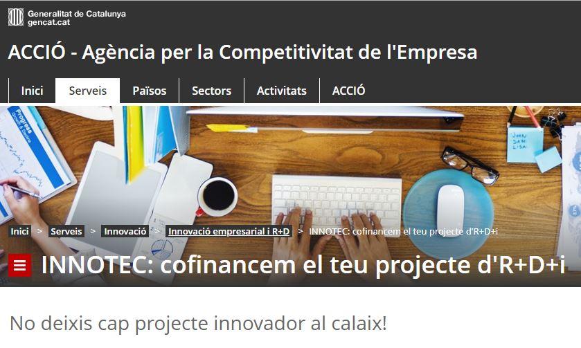 Ajuts INNOTEC, per a projectes d'R+D+i de PIME amb agents de tecnologia homologats