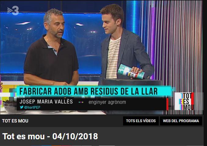 """El company Josep Maria Vallès, expert en agricultura urbana al programa """"tot es mou"""" de tv3"""