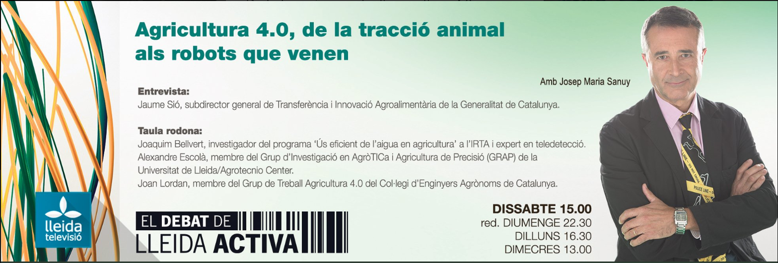 """Aquest dissabte 19 de gener els enginyers agrònoms a #ElDebatdeLleidaactiva de LleidaTV per parlar """"De la tradició animal a l'agricultura 4.0"""