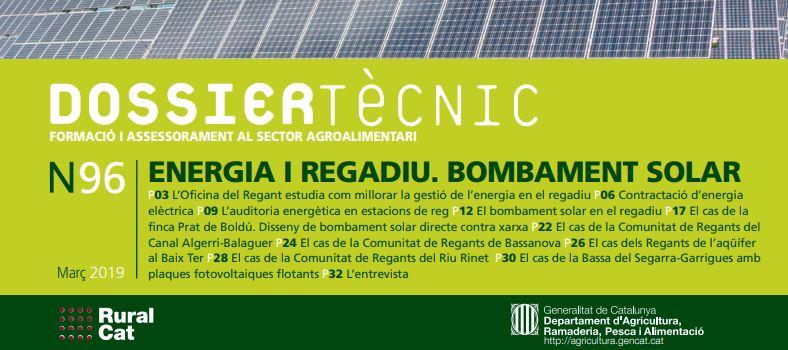 """Dossier Tècnic núm. 96: """"Energia i regadiu. Bombament solar"""""""