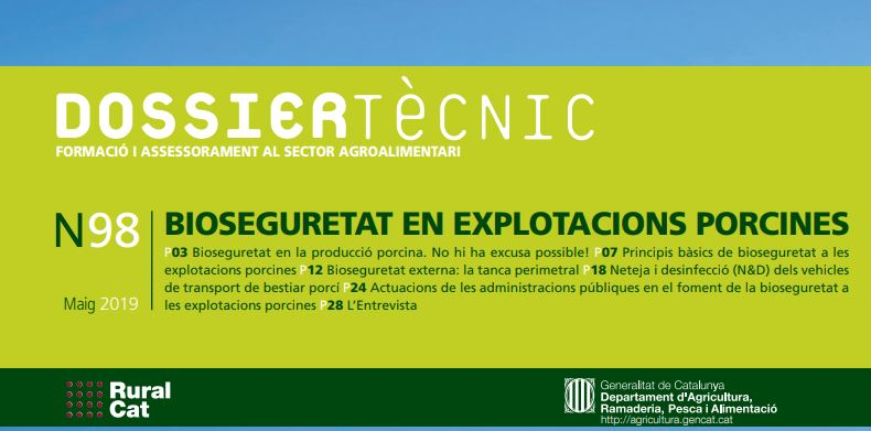 """Nou dossier tècnic: """"Bioseguretat en explotacions porcines"""""""