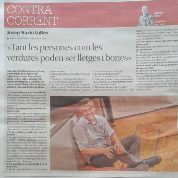 Entrevista del Diari de Girona al company Josep M. Vallès, expert en horticultura urbana.