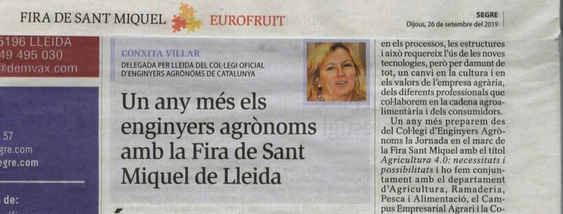 La delegada de Lleida Conxita Villar als mitjans de comunicació en motiu de la participació del Col·legi a la 65a edició de la Fira de Sant Miquel