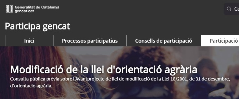 Consulta pública prèvia sobre l'Avantprojecte de llei de modificació de la Llei d'orientació agrària
