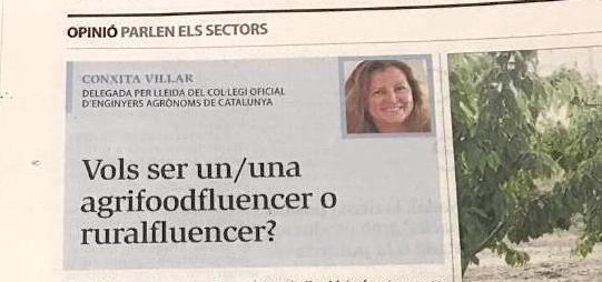 Vols ser un/una agrifoodfluencer o Ruralfluencer? Article de Conxita Villar publicat al Diari Segre