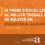 La companya Inés Samperi, és la guanyadora de la tercera edició del Premi d'Excel·lència al Millor Treball Final del Màster en Enginyeria Agronòmica