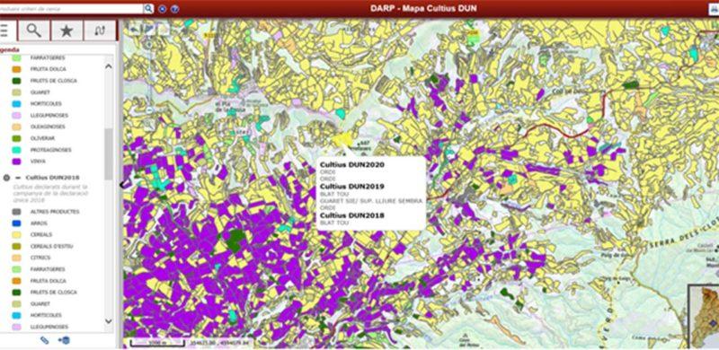 El Departament d'Agricultura publica el mapa de cultius 2020