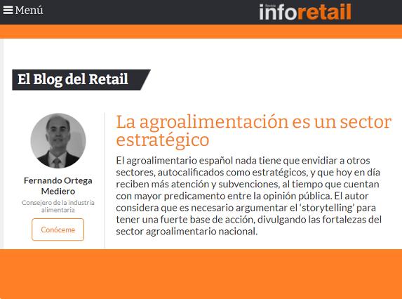 """Elcompany Fernando Ortega publica a la revista Inforetail l'article """"L'alimentació és un sector estratègic"""""""