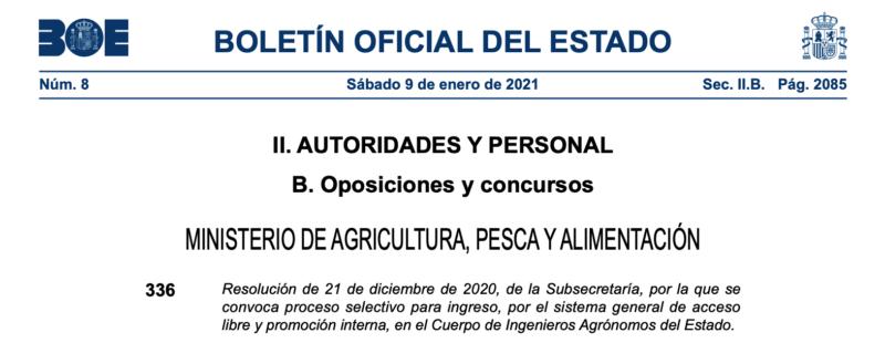 Convocatòria procés selectiu per a ingrés, pel sistema general d'accés lliure i promoció interna, en el Cos d'Enginyers Agrònoms de l'Estat