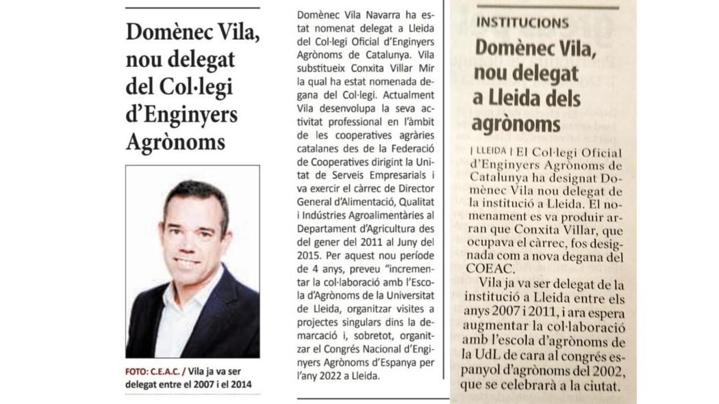 Els mitjans de Lleida es fan ressó de la presa de possessió del nou Delegat de Lleida del Col·legi