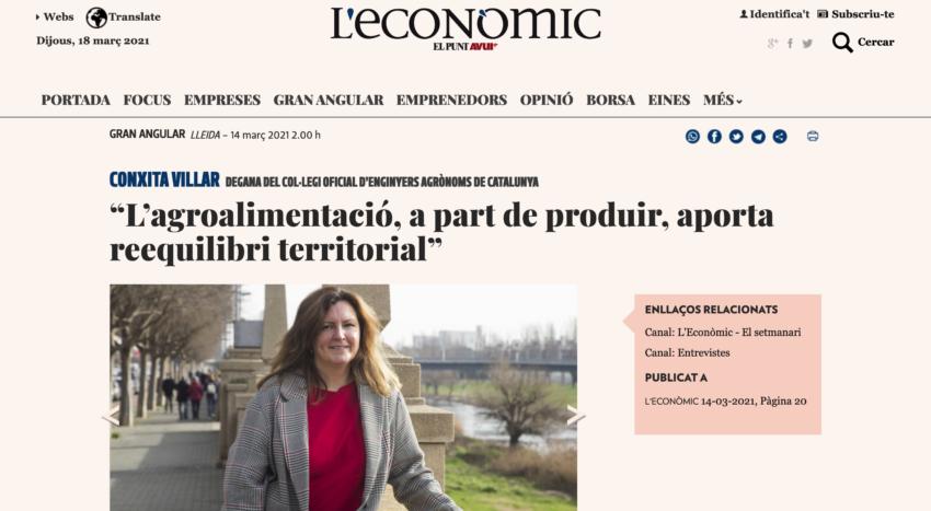 """""""L'agroalimentació, a part de produir, aporta reequilibri territorial"""" Entrevista a la degana Conxita Villar"""