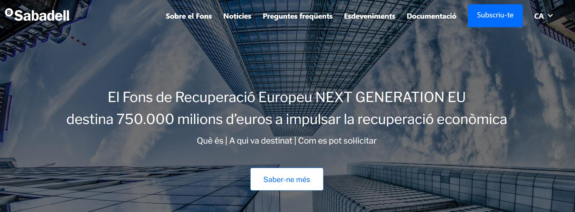 Banc de Sabadell habilita un espai web sobre el Fons de Recuperació Europeu
