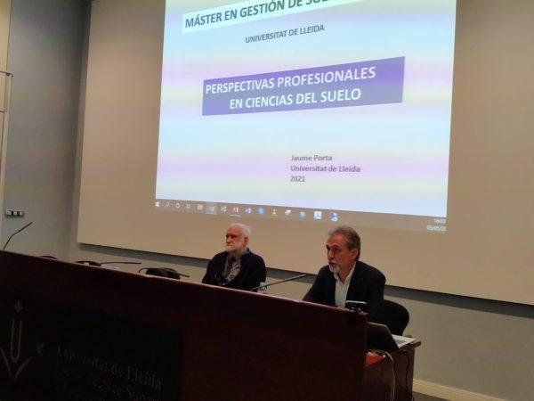 Classe magistral del company Dr. Jaume Porta al Màster Interuniversitari en Gestió de Sòls