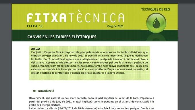 Canvis en les tarifes elèctriques