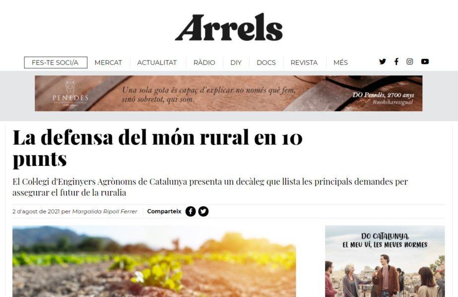 El Col·legi d'Enginyers Agrònoms de Catalunya presenta un decàleg que llista les principals demandes per assegurar el futur de la ruralia
