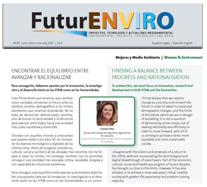Article de la degana Conxita Villar a la revista FuturENVIRO